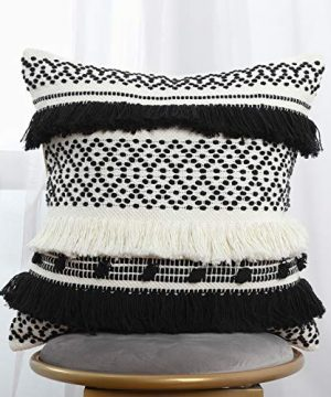Blue Page Handmade Boho Decorative Throw Pillow Cover 18x18 Inch Square Soft Cushion Cover For Sofa Couch Bedroom Modern Accent Farmhouse Striped Pillow Case Black Cream 0 300x360