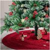 Glitzhome 52 Knitted Red Christmas Tree Skirt Large Round For For Xmas Holiday Party Decorations 0 100x100