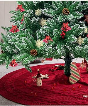 Glitzhome 52 Knitted Red Christmas Tree Skirt Large Round For For Xmas Holiday Party Decorations 0 300x360
