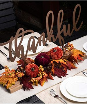 Glitzhome Autumn Harvest Table Centerpiece Metal Thankful Sign With 24 L Artificial Floral Maple Leaves Pumpkins Pinecones And Berries Arrangement For Harvest Party Thanksgiving Fall Ornaments 0 300x360