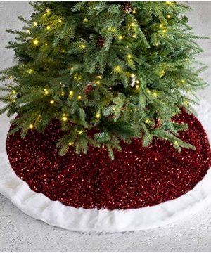 Glitzhome Christmas Tree Skirt 48 D Sequin Plush Thick Tree Skirts For Xmas Holiday Decorations Tree Ornaments Red 0 300x360