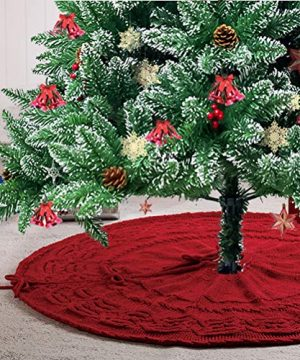 Glitzhome Christmas Tree Skirt 52 Inches Rustic Red Knitted Polyester Thick Tree Ornaments Xmas Party Holiday Decoration 0 0 300x360