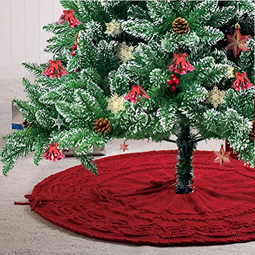 Glitzhome Christmas Tree Skirt 52 Inches Rustic Red Knitted Polyester Thick Tree Ornaments Xmas Party Holiday Decoration 0 0
