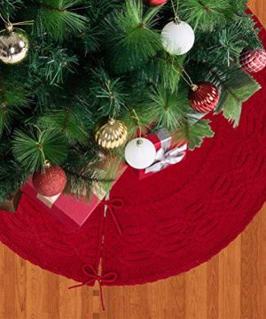 Glitzhome Christmas Tree Skirt 52 Inches Rustic Red Knitted Polyester Thick Tree Ornaments Xmas Party Holiday Decoration 0 1 300x360