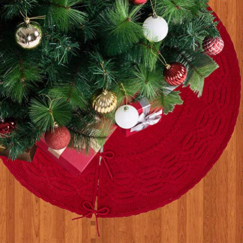 Glitzhome Christmas Tree Skirt 52 Inches Rustic Red Knitted Polyester Thick Tree Ornaments Xmas Party Holiday Decoration 0 1
