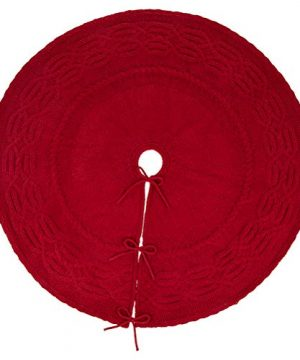 Glitzhome Christmas Tree Skirt 52 Inches Rustic Red Knitted Polyester Thick Tree Ornaments Xmas Party Holiday Decoration 0 2 300x360