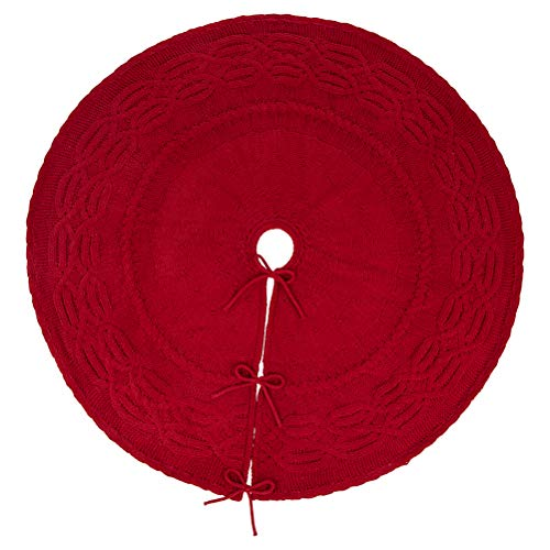 Glitzhome Christmas Tree Skirt 52 Inches Rustic Red Knitted Polyester Thick Tree Ornaments Xmas Party Holiday Decoration 0 2