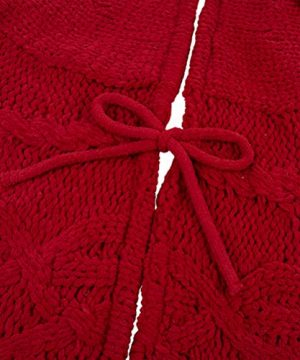Glitzhome Christmas Tree Skirt 52 Inches Rustic Red Knitted Polyester Thick Tree Ornaments Xmas Party Holiday Decoration 0 3 300x360