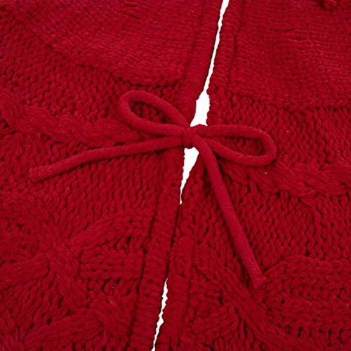 Glitzhome Christmas Tree Skirt 52 Inches Rustic Red Knitted Polyester Thick Tree Ornaments Xmas Party Holiday Decoration 0 3