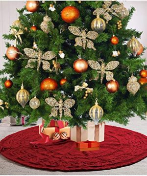 Glitzhome Christmas Tree Skirt 52 Inches Rustic Red Knitted Polyester Thick Tree Ornaments Xmas Party Holiday Decoration 0 300x360