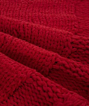 Glitzhome Christmas Tree Skirt 52 Inches Rustic Red Knitted Polyester Thick Tree Ornaments Xmas Party Holiday Decoration 0 5 300x360