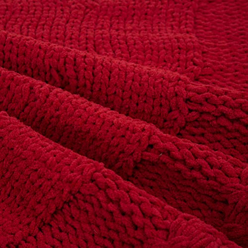 Glitzhome Christmas Tree Skirt 52 Inches Rustic Red Knitted Polyester Thick Tree Ornaments Xmas Party Holiday Decoration 0 5