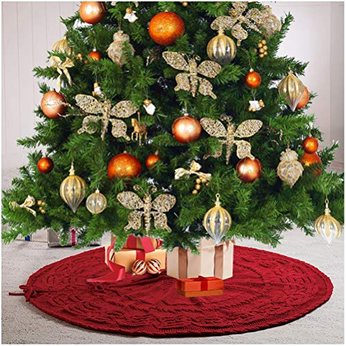 Glitzhome Christmas Tree Skirt 52 Inches Rustic Red Knitted Polyester Thick Tree Ornaments Xmas Party Holiday Decoration 0