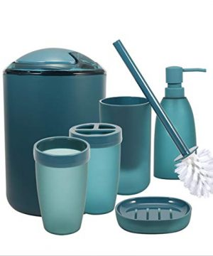 IMucci Blue 6pcs Bathroom Accessories Set With Trash Can Toothbrush Holder Soap Dispenser Soap And Lotion Set Tumbler Cup 0 300x360