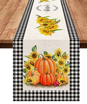 Pinata Fall Buffalo Plaid Table Runner 72 Inches Long Farmhouse Burlap Yellow Kitchen Decor Sunflower Floral Table Runner Thanksgiving Pumpkin Fall Decorations For Home Holiday Kitchen Table Decor 0 300x360
