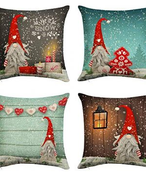 Silichee Pillow Covers 20X20 Set Of 4 Farmhouse Pillow Covers Swedish Santa Christmas Cute Gnome Cotton Linen Decorative Throw Pillow Case For Sofa Bedroom Car 0 300x360