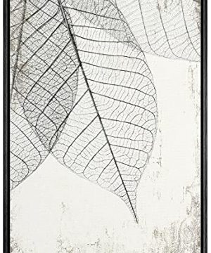 Wall26 Framed Canvas Print Wall Art Hanging Transparent Black White Grunge Leaves Floral Nature Illustrations Modern Art Rustic Dramatic For Living Room Bedroom Office 24x36 Black 0 300x360