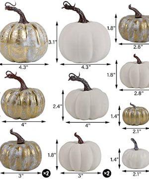 Winemana Thanksgiving Artificial Pumpkins 16 Pcs Rustic Foam Fall Autumn Decorations White Golden Fake Pumpkins Seasonal Tabletop Centerpieces For Home Indoor Outdoor 0 0 300x360