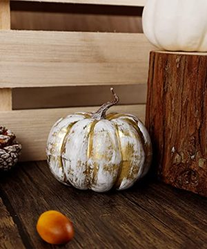 Winemana Thanksgiving Artificial Pumpkins 16 Pcs Rustic Foam Fall Autumn Decorations White Golden Fake Pumpkins Seasonal Tabletop Centerpieces For Home Indoor Outdoor 0 3 300x360