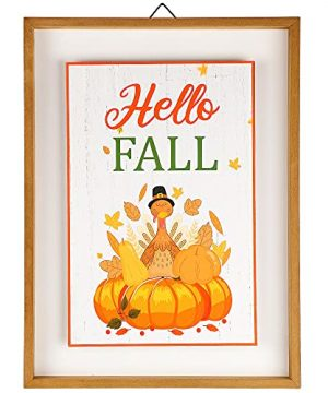 Winemana Thanksgiving Decoration Wall Art Hello Fall 154 X 114 Farmhouse Rustic Turkey Pumpkin Hanging Wooden Sign Frame For Autumn Harvest Home Kitchen Office 0 300x360