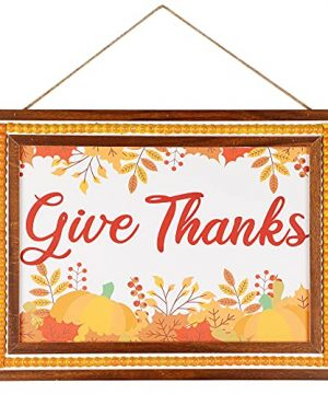 Winemana Thanksgiving Wall Decor Give Thanks Wooden Sign 154 X 114 Hanging Rustic Farmhouse Frame Autumn Fall Harvest Day Decoration For Home Room Porch 0 300x360