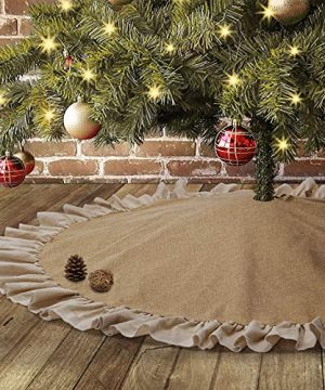 Yuboo Burlap Christmas Tree Skirt With Ruffle Border48 Linen Rustic Xmas Tree Decorations For Farmhouse Holiday Party 0 300x360