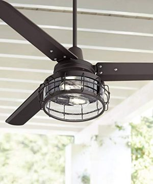 52 Plaza Industrial Farmhouse 3 Blade Indoor Ceiling Fan With Light LED Remote Control Oil Rubbed Bronze Clear Seedy Glass For House Bedroom Living Room Home Kitchen Family Dining Casa Vieja 0 300x360
