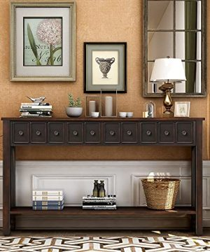 60 Long Console Table With Different Size Drawers And Bottom Shelf Rustic Sofa Table For Entryway HallwayBlack 0 300x360