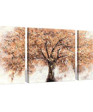 Abstract Tree Canvas Wall Art Orange Tree Blossom Artwork Painting Living Room 32 X 16 X 2 Panels 32 X 32 X 1 Panel 0 300x360