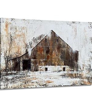 BATRENDY ARTS Farmhouse Rustic Wall Art Large Brown Barn Canvas Decor Modern Print Painting Country Style Pictures For Sitting Room Framed 0 300x360