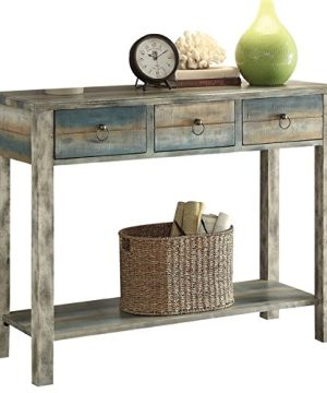 BOWERY HILL Console Table In Antique White And Teal 0 300x360