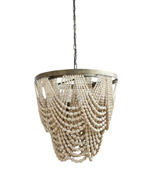 Beaded Chandelier Rustic Farmhouse Boho Light Fixture With Wooden Beads 2 Tier Draped Bead Chandelier 0 300x360