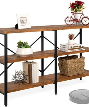 Best Choice Products 55in Rustic 3 Tier Console Sofa Table Industrial Foyer Table For Living Room Entry Way Hallway WEVA Non Scratch Feet Steel Frame Brown 0 300x360