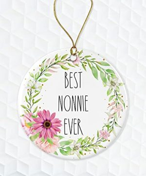 Best Nonnie Ever Ornament Rae Dunn Ornament Gift For Nonnie Floral Christmas Ornament Gift For Wife For Nonnie From Daughter Both Sides 0 300x360