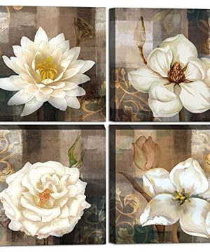 Brown Wall Decor For Living Room Bedroom Bathroom Abstract Flower Wall Art Rustic Lotus Poppy Tulip Floral Canvas Print Art Framed For Farmhouse Kitchen Office Room Wall Decoration 12x12inchx4pcs 0 300x360