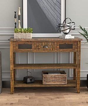 COZAYH 42 Vintage Farmhouse Console Table Warm Brown Industrial Rustic Style Sofa Table For Hallway Entryway Living Room Kitchen WDeep Drawers And Lower Shelves 0 300x360