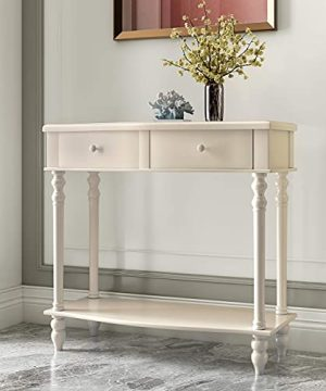 COZAYH Console Sofa Table Traditional Modern Farmhouse Style WFrench Turned Legs White 0 300x360