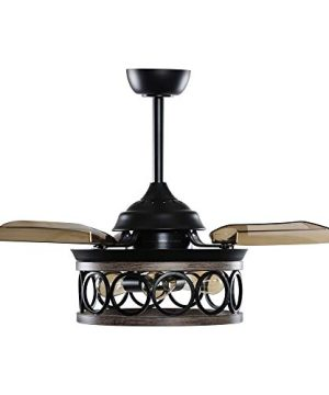 Ceiling Fans With Lights Farmhouse Retractable Ceiling Fan With Light Wall Switch 36 Inch Black 0 300x360