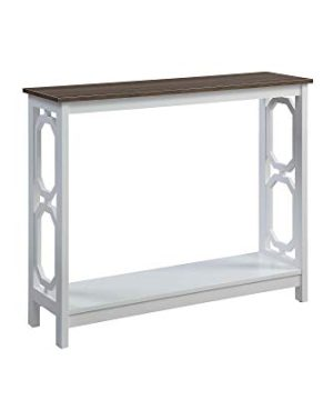 Convenience Concepts Omega Console Table Driftwood Top White Frame 0 300x360