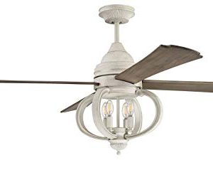 Craftmade AUG60CW4 Augusta Dual Mount 60 Ceiling Fan With LED Light And Remote Control 4 Blades Cottage White 0 300x253