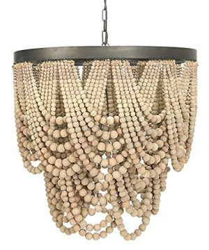 Creative Co Op EC0373 Two Tier Boho Light Fixture With Wooden Draped Natural Bead Rustic Farmhouse Distressed Chandelier 275 X 275 X 2638 0 300x360