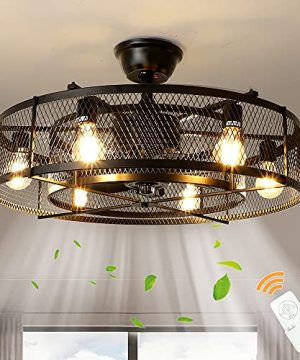 Depuley Farmhouse Ceiling Fans With Light 26 Industrial IndoorOutdoor Ceiling Fan Lighting Matte Black Flush Mount Ceiling Fan Light Kit Remote Control 3 Wind Speed6 Blade E26 Bulb Not Include 0 300x360