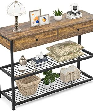 Ecoprsio Console Table With Drawers Industrial Sofa Table Entryway Table Narrow Long With Storage Shelves For Entryway Front Hall Hallway Sofa Couch Living Room Coffee Bar Kitchen 40 Inch 0 300x360