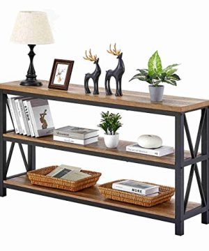 FATORRI Industrial Console Table For Entryway Wood Sofa Table Rustic Hallway Tables With 3 Tier Shelves For Living Room 55 Inch Rustic Oak 0 300x360