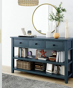 Farmhouse Style Console Table With Drawers And 2 Tier Shelves Long Sofa Table Entryway Table For Small Hallway Navy 0 300x360