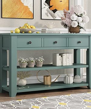 Farmhouse Wood Console Table 48 Inch Modern Sofa Table With Drawer Storage Shelves For Living Room Entryway Kitchen Retro Green 0 300x360