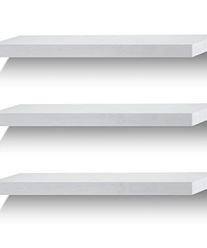 Floating Shelves Wall Shelf Solid Wood For Bathroom Bedroom Kitchen Wall Decor Set Of 3 White Wall Shelves 0 300x360