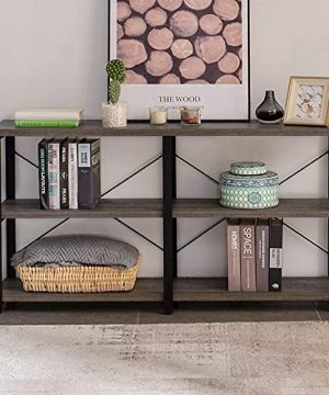 GRELO HOME Rustic Console Table For Entryway Industrial SofaEntry Table With Storage Open Bookshelf 55 Inch Gray Oak 0 300x360