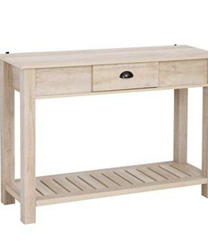 HOMCOM Console Side Entryway Table With Storage Drawer Bottom Shelf And Strong Sturdy Construction White Oak 0 300x360
