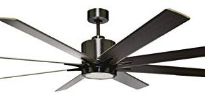 HOMEnhancements METRO 8 Blade 66 In Matte Black Ceiling Fan With 16W LED Light Kit And Reversible Matte Black Walnut Blades 19533 0 300x145